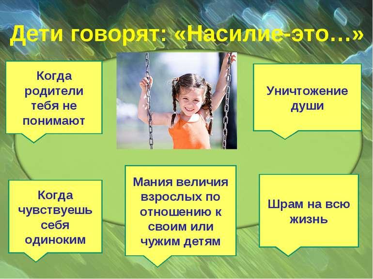 Дети говорят: «Насилие-это…» Когда родители тебя не понимают Когда чувствуешь...