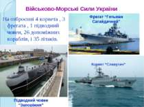 На озброєнні 4 корвета , 3 фрегата , 1 підводний човен, 26 допоміжних кораблі...