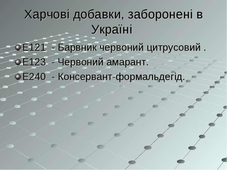 Харчові добавки, заборонені в Україні Е121 - Барвник червоний цитрусовий . Е1...