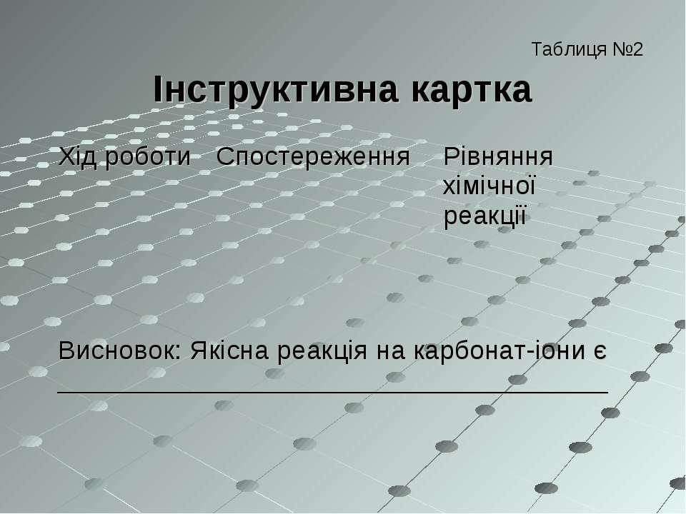 Таблиця №2 Інструктивна картка Хід роботи Спостереження Рівняння хімічної реа...