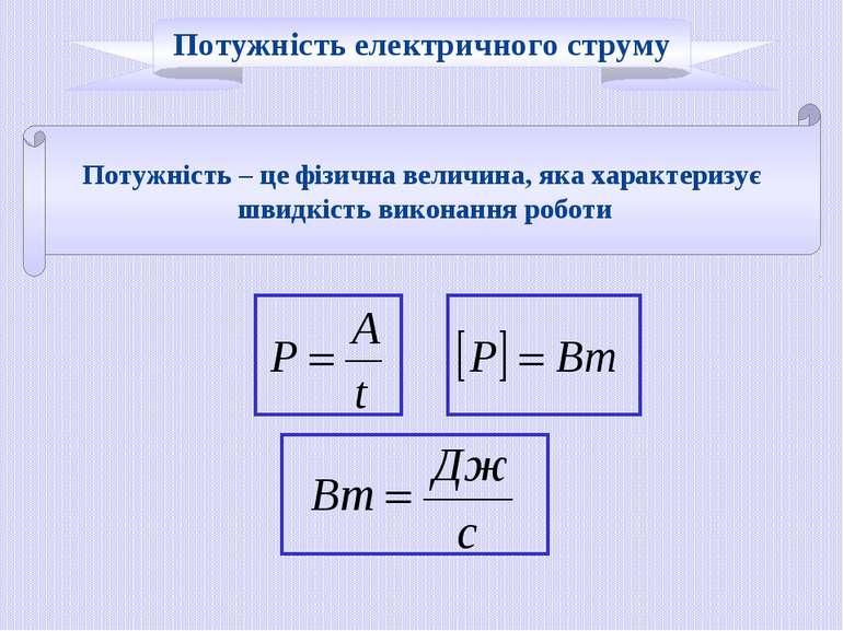 Потужність – це фізична величина, яка характеризує швидкість виконання роботи...
