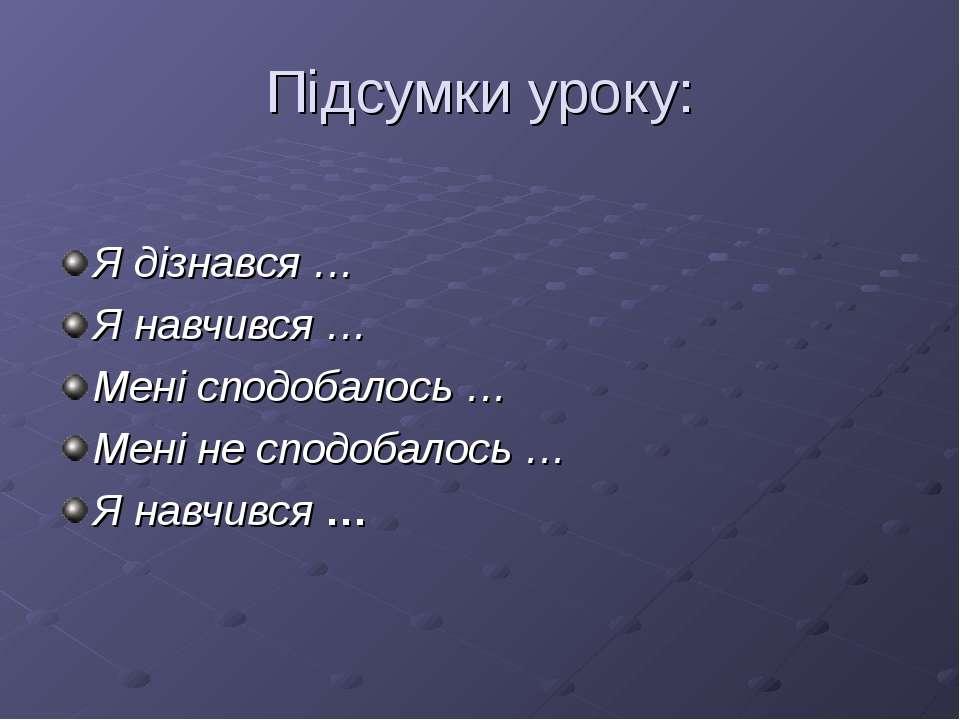 Підсумки уроку: Я дізнався … Я навчився … Мені сподобалось … Мені не сподобал...