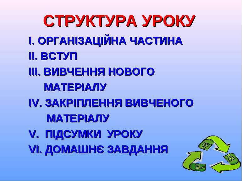 СТРУКТУРА УРОКУ І. ОРГАНІЗАЦІЙНА ЧАСТИНА ІІ. ВСТУП ІІІ. ВИВЧЕННЯ НОВОГО МАТЕР...