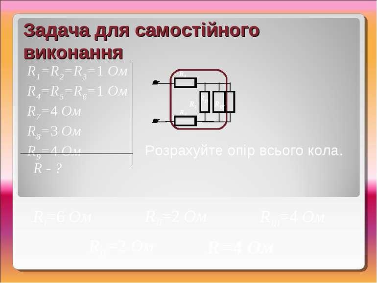 RIV=2 Ом Задача для самостійного виконання R - ? Розрахуйте опір всього кола....