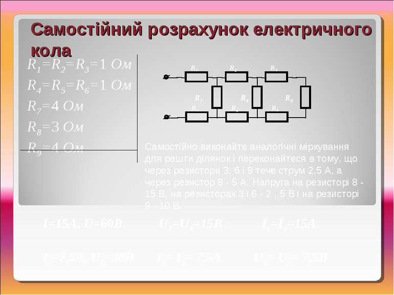 I=15А, U=60В U1=U4=15В I1=I4=15А I7=7,5А, U7=30В I2= I5= 7,5А U2= U5= 7,5В Са...