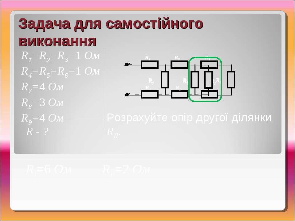 RII=2 Ом Задача для самостійного виконання R1=R2=R3=1 Ом R4=R5=R6=1 Ом R7=4 О...