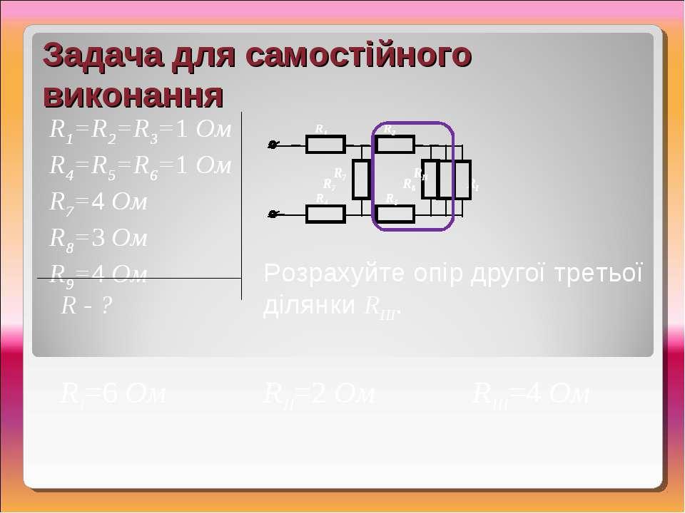 RIII=4 Ом Задача для самостійного виконання R1=R2=R3=1 Ом R4=R5=R6=1 Ом R7=4 ...