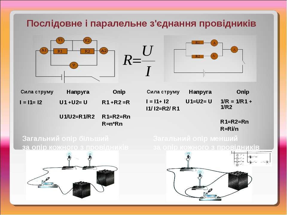 Послідовне і паралельне з'єднання провідників Загальний опір менший за опір к...