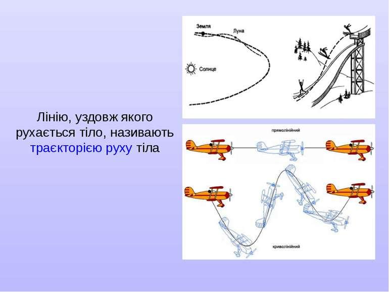 Лінію, уздовж якого рухається тіло, називають траєкторією руху тіла