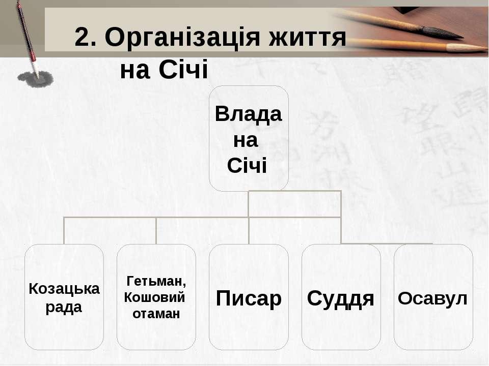 2. Організація життя на Січі