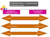 Номенклатура – створення назв органічних сполук Тривіальна – Традиційні назви...