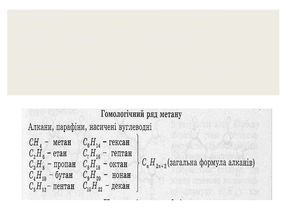 Гомологи – сполуки, що мають подібну будову молекул і подібні хімічні властив...