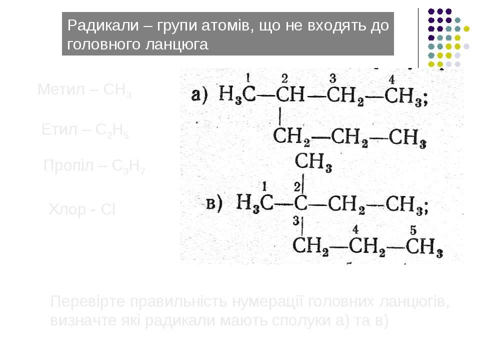 Радикали – групи атомів, що не входять до головного ланцюга Метил – СН3 Етил ...