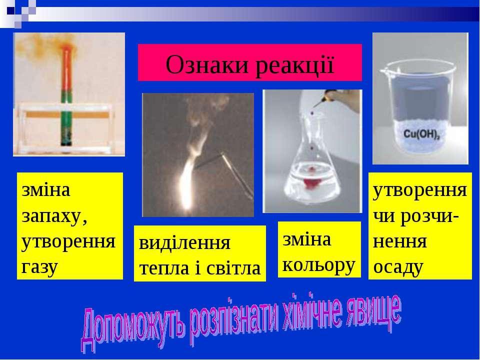 Ознаки реакції зміна кольору зміна запаху, утворення газу виділення тепла і с...