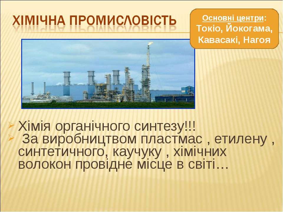 Хімія органічного синтезу!!! За виробництвом пластмас , етилену , синтетичног...