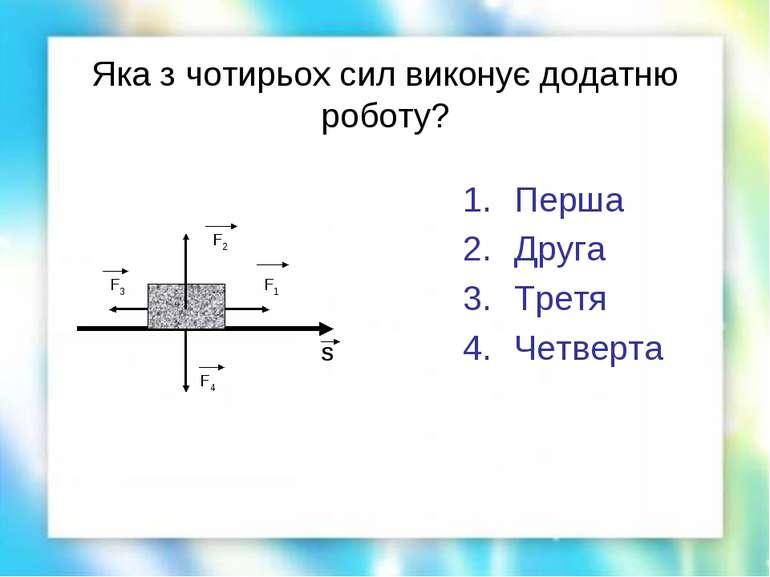 Яка з чотирьох сил виконує додатню роботу? Перша Друга Третя Четверта