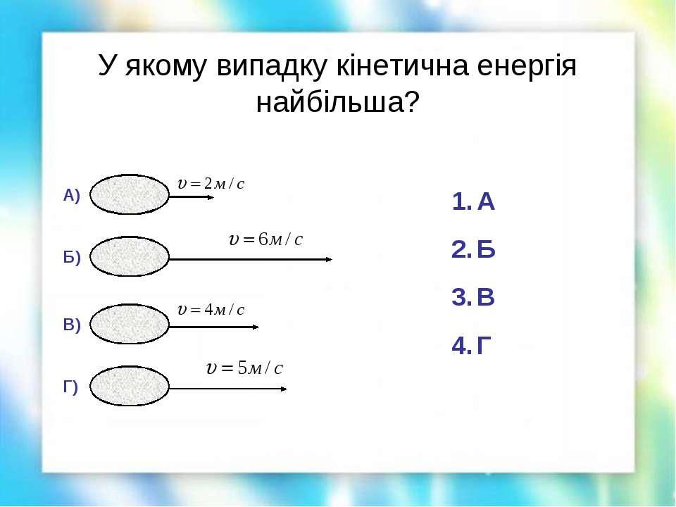 У якому випадку кінетична енергія найбільша? Г) В) Б) А) А Б В Г