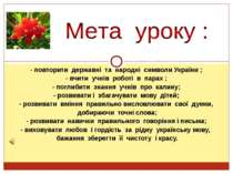 - повторити державні та народні символи України ; - вчити учнів роботі в пара...