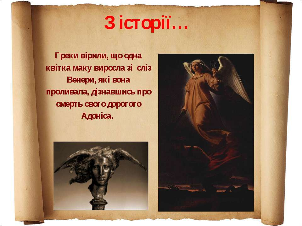Греки вірили, що одна квітка маку виросла зі сліз Венери, які вона проливала,...