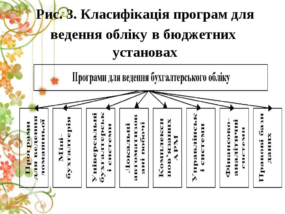 Рис. 3. Класифікація програм для ведення обліку в бюджетних установах