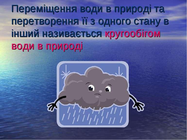 Переміщення води в природі та перетворення її з одного стану в інший називаєт...