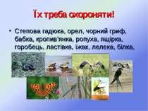 Їх треба охороняти! Степова гадюка, орел, чорний гриф, бабка, кропив'янка, ро...