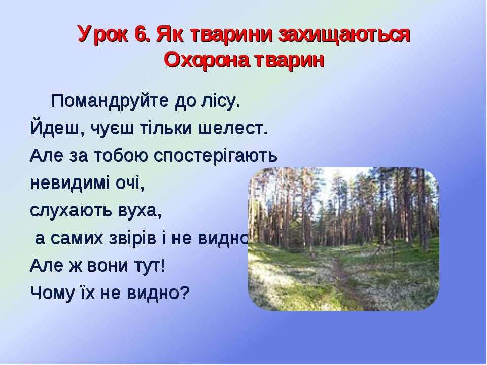 Урок 6. Як тварини захищаються Охорона тварин Помандруйте до лісу. Йдеш, чуєш...