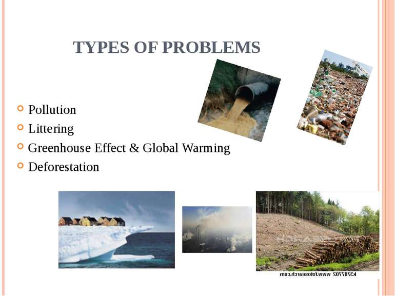 TYPES OF PROBLEMS Pollution Littering Greenhouse Effect & Global Warming Defo...