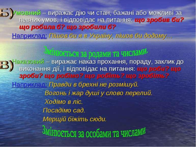 Умовний – виражає дію чи стан, бажані або можливі за певних умов, і відповіда...