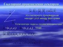 Скалярное произведение векторов Из скалярного произведения находят угол между...