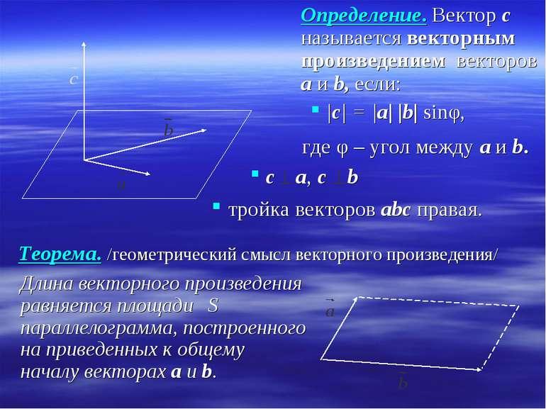 Определение. Вектор c называется векторным произведением векторов а и b, если...