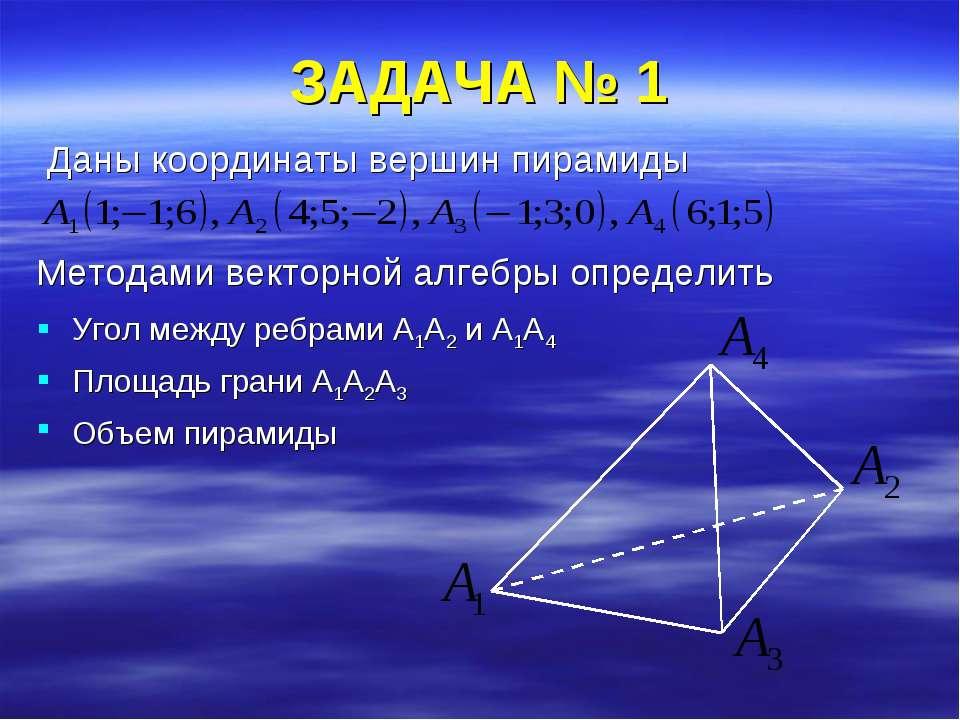 ЗАДАЧА № 1 Даны координаты вершин пирамиды Методами векторной алгебры определ...