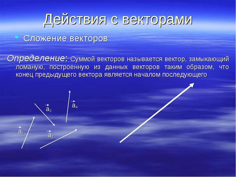 Действия с векторами Сложение векторов Определение: Суммой векторов называетс...