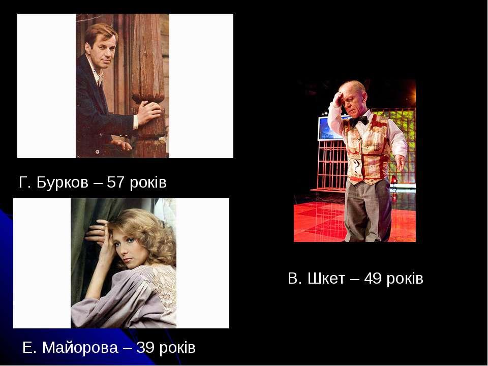 Г. Бурков – 57 років Е. Майорова – 39 років В. Шкет – 49 років