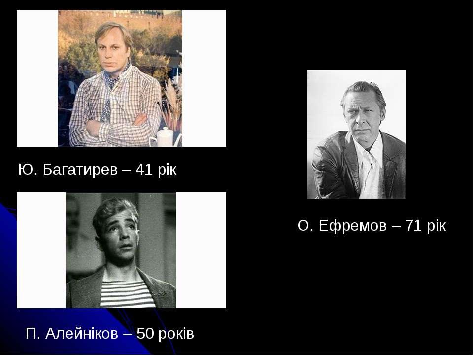 Ю. Багатирев – 41 рік П. Алейніков – 50 років О. Ефремов – 71 рік