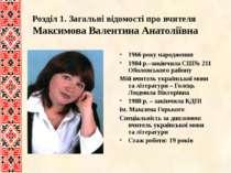 Розділ 1. Загальні відомості про вчителя Максимова Валентина Анатоліївна 1966...
