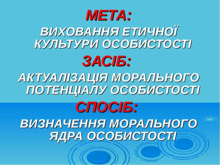 МЕТА: ВИХОВАННЯ ЕТИЧНОЇ КУЛЬТУРИ ОСОБИСТОСТІ ЗАСІБ: АКТУАЛІЗАЦІЯ МОРАЛЬНОГО П...