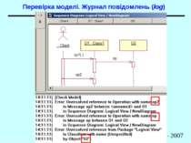 Перевірка моделі. Журнал повідомлень (log) Діаграми взаємодії. Діаграми класі...