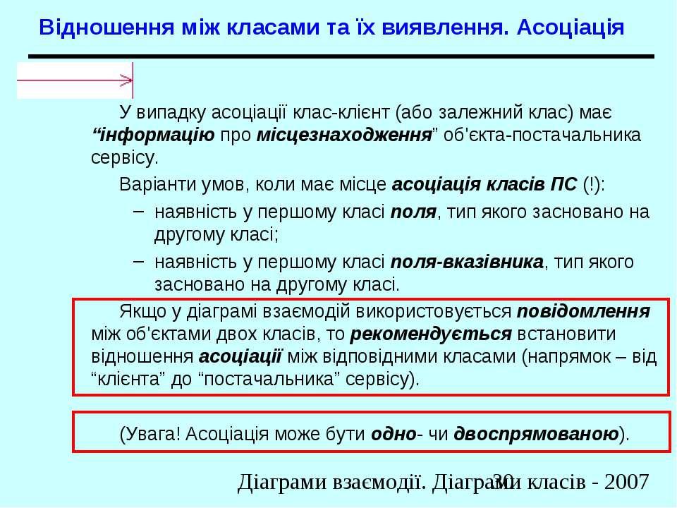 Відношення між класами та їх виявлення. Асоціація У випадку асоціації клас-кл...