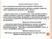 РЕКОМЕНДУЄМО: 4. Для покращення показників щодо кадрового забезпечення : - ре...