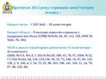 Протягом 2012 року отримано комп'ютерну техніку : Бюджет міста – СЗШ №42 – 18...