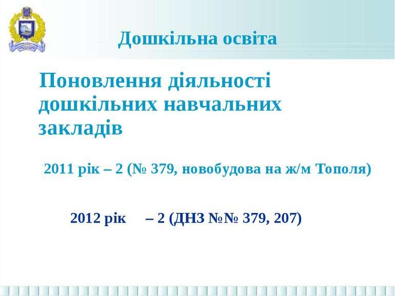 Дошкільна освіта Поновлення діяльності дошкільних навчальних закладів 2011 рі...