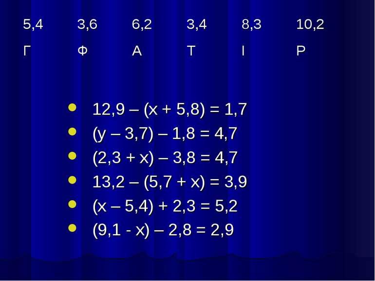 12,9 – (х + 5,8) = 1,7 (у – 3,7) – 1,8 = 4,7 (2,3 + х) – 3,8 = 4,7 13,2 – (5,...