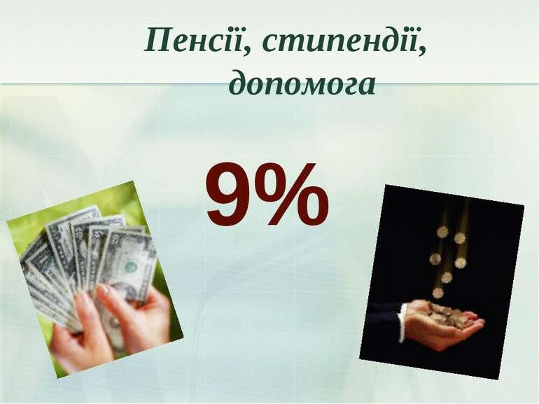 9% Пенсії, стипендії, допомога