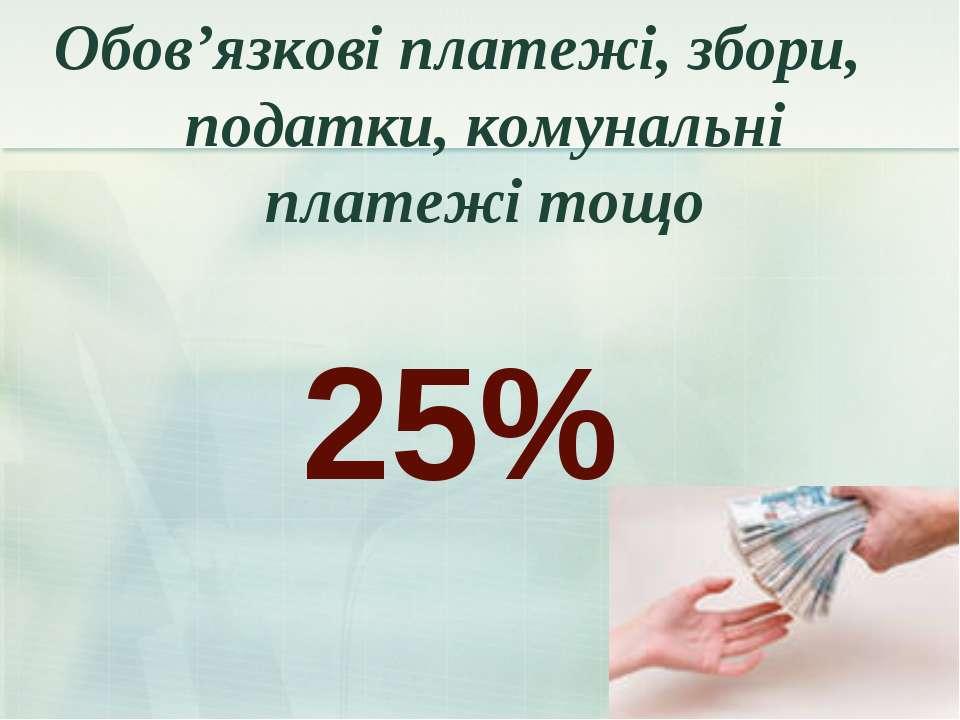 25% Обов'язкові платежі, збори, податки, комунальні платежі тощо