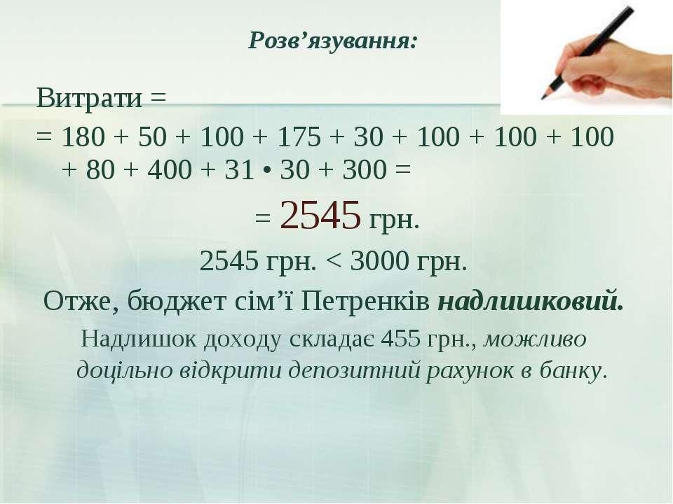 Розв'язування: Витрати = = 180 + 50 + 100 + 175 + 30 + 100 + 100 + 100 + 80 +...