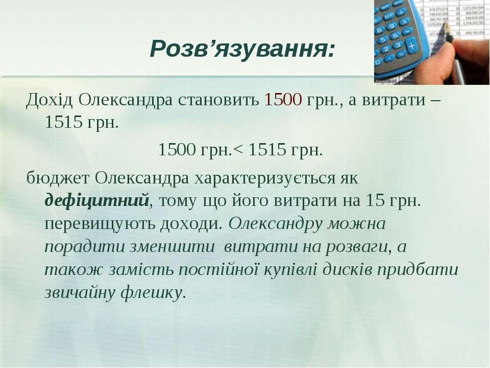 Розв'язування: Дохід Олександра становить 1500 грн., а витрати – 1515 грн. 15...