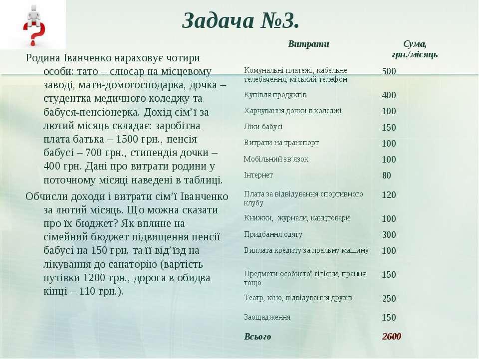 Задача №3. Родина Іванченко нараховує чотири особи: тато – слюсар на місцевом...