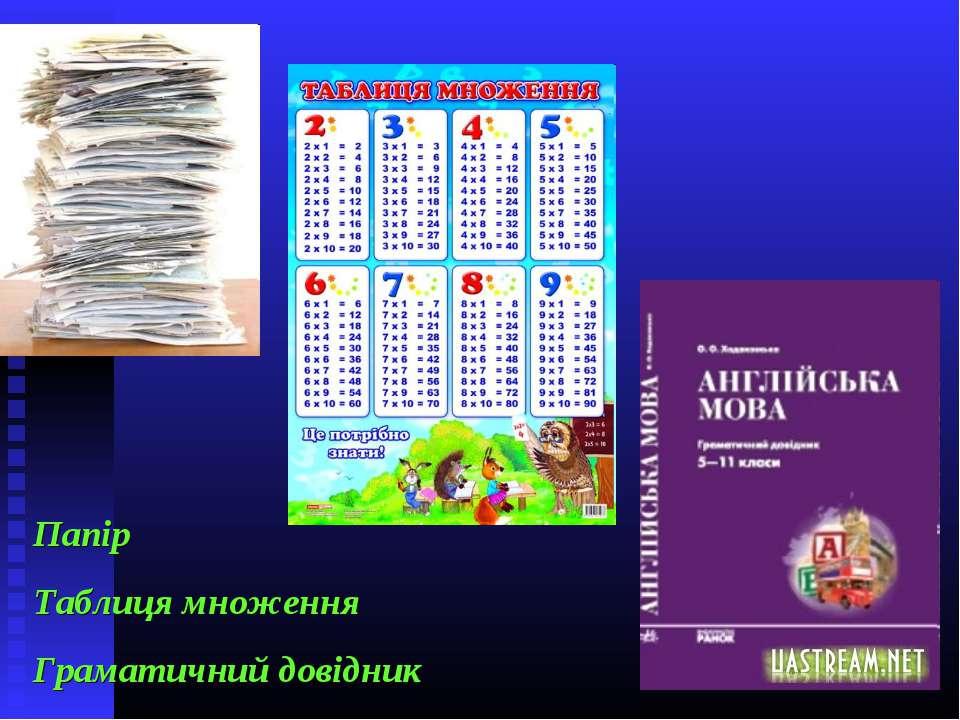 Папір Таблиця множення Граматичний довідник