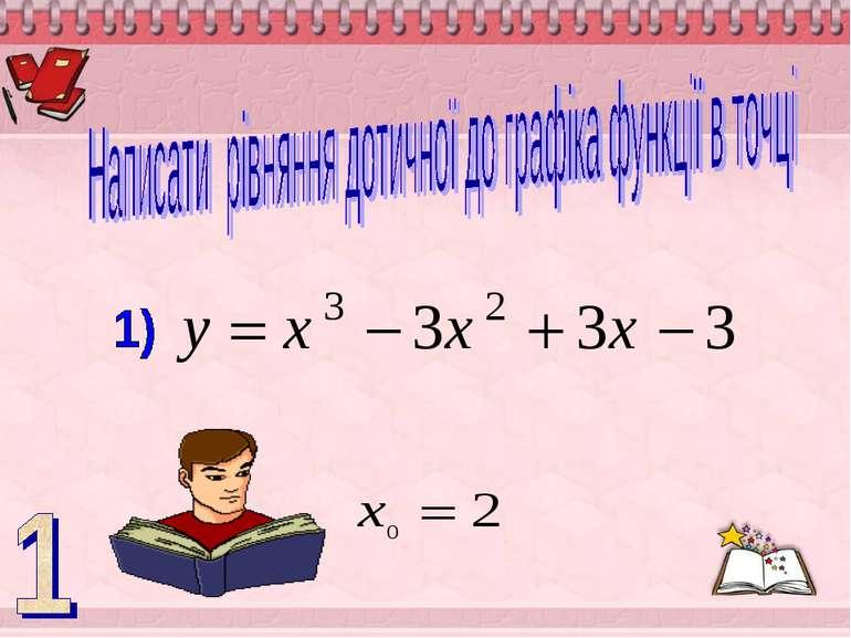 Написати рівняння дотичної до графіка функції в точці